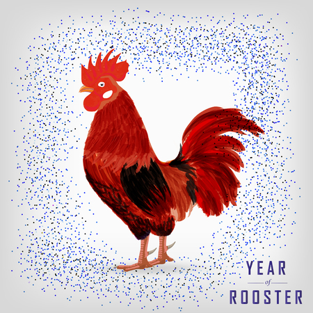 acclaim: red rooster - a symbol of the new 2017 according to the Chinese calendar. Vector illustration of cute rooster. cartoon vector illustration