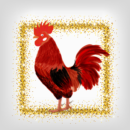 acclaim: red rooster - a symbol of the new 2017 according to the Chinese calendar. Vector illustration of cute rooster. cartoon vector illustration of cock with golden frame Illustration