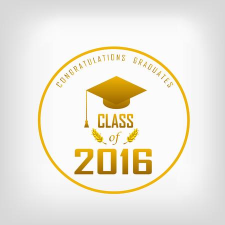 vector illustratie van een afstuderen klasse in 2016 grafische elementen voor t-shirts, en het idee voor de teken of badge
