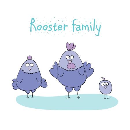 vector illustration  hen: chicken family - rooster, hen, chicken. cartoon vector illustration Illustration