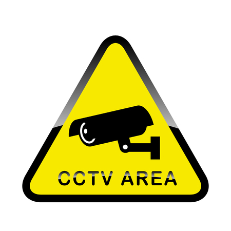 monitored area: Warning Sticker for Security Alarm CCTV Camera Surveillance. Inscription CCTV Area