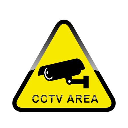 Etiqueta de advertencia de alarma de seguridad cámara de vigilancia CCTV. Inscripción Área de CCTV