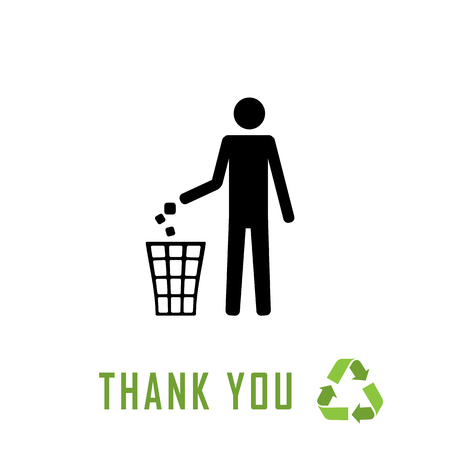 dint: Do not litter, vector sign on white background. people throw garbage in the trash. inscription - thank you for recycling Illustration
