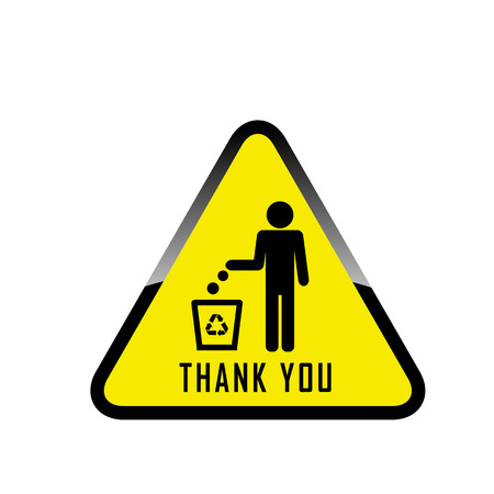 Do not litter, vector sign on white background. people throw garbage in the trash. Illustration
