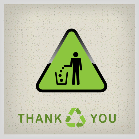 Do not litter, vector sign on green background. people throw garbage in the trash. inscription - thank you for recycling Illustration