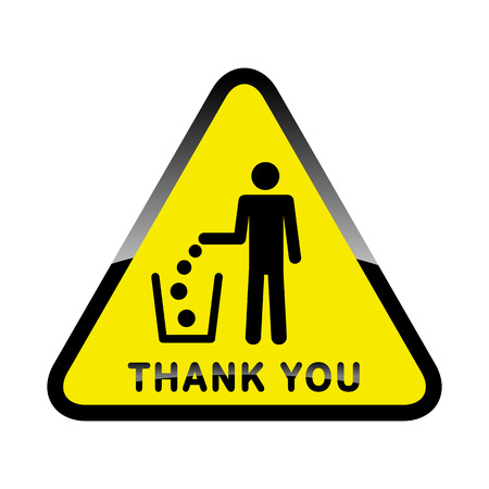 dint: Do not litter, vector sign on yellow background. people throw garbage in the trash. inscription means - thank you throw garbage into a bucket