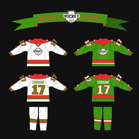 gamma: Cutting fabric for hockey form. Hockey jersey. Template design for hockey equipment. hockey sweater and socks. Form for hockey team with logo - puck and crossed sticks. Red, green and white color gamma
