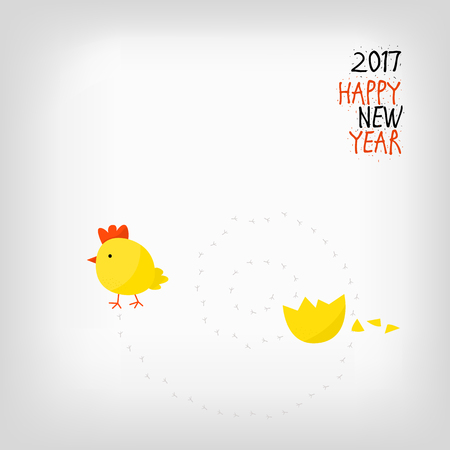 hatched: Chicken hatched from the egg - greeting card happy new year. 2017 - year of the Chinese calendar - new year of the rooster