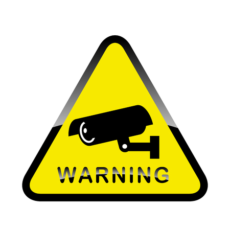 camera surveillance: Warning Sticker for Security Alarm CCTV Camera Surveillance. Inscription Warning Illustration
