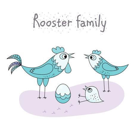 chicken family: chicken family - rooster, hen, chicken and egg. cartoon vector illustration