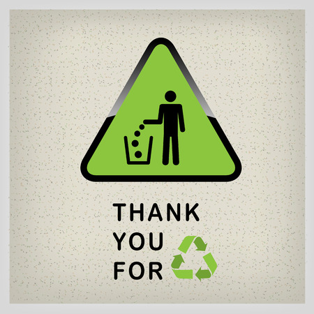 dint: Do not litter, vector sign on green background. people throw garbage in the trash. inscription - thank you for recycling Illustration