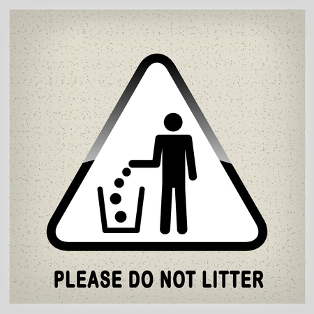 Do not litter, vector sign on white background. people throw garbage in the trash. inscription - please do not litter