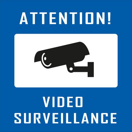 security alarm: Warning Sticker for Security Alarm CCTV Camera Surveillance. Inscription Attention! Video surveillance Illustration