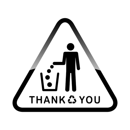dint: Do not litter, vector sign on white background. people throw garbage in the trash. inscription means - thank you throw garbage into a bucket