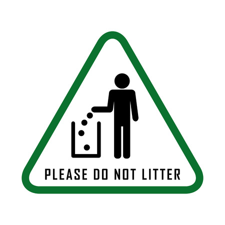 Do not litter, vector sign. people throw garbage in the trash.