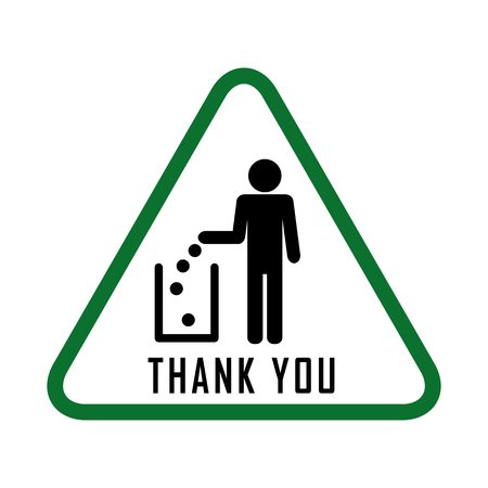 dint: Do not litter, vector sign. people throw garbage in the trash. inscription meens - thank you throw garbage into a bucket Illustration