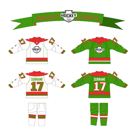 gamma: Cutting fabric for hockey form. Hockey jersey. Template design for hockey equipment. hockey sweater and socks. Form for hockey team with logo - puck and crossed sticks. Red, green and white gamma colors