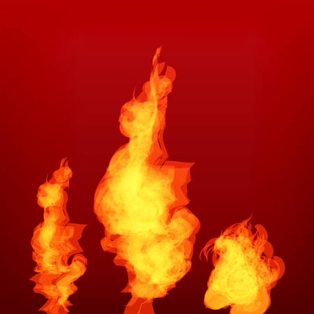 arsonist: Vector Fire set isolated on red background.