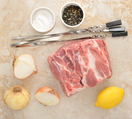 Set up for barbecue - raw pork, onions, spices, estuary and spit on the marble background. Top view