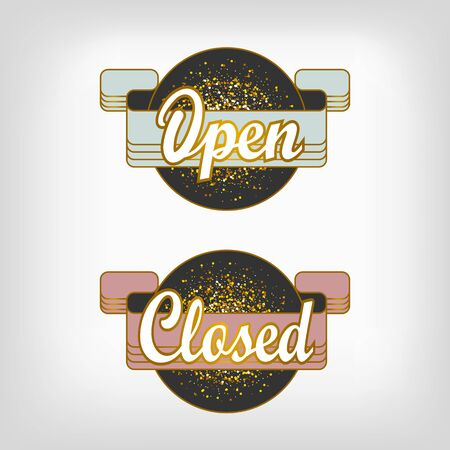 doorhandle: Gold sparkling ribbon with the inscription Open and Closed. Gold vector illustration. Open sign for shop and cafe