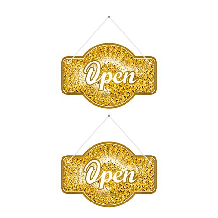 closed ribbon: Gold sparkling ribbon with the inscription Open and Closed. Gold vector illustration. Open sign for shop and cafe