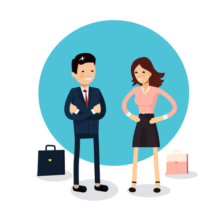 talks: Cute couple of businessmen hold talks isolated. Businessman and businesswoman characters standing with their portfolios. Female and male friendly office workers couple