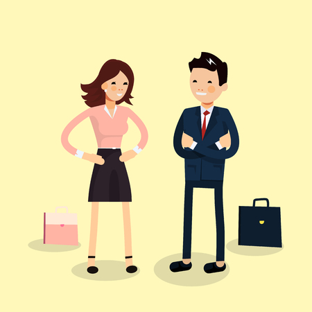 lovely couple: Businessman and businesswoman characters standing and carry on negotiations. Lovely couple of businessmen smiling isolated. Female and male friendly office workers couple Illustration