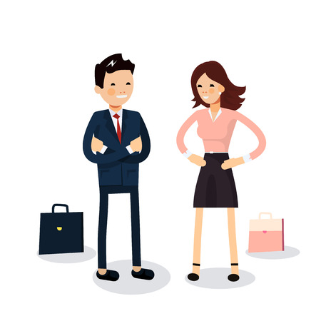 talks: Cute couple of businessmen hold talks isolated. Businessman and businesswoman characters standing with their portfolios. Female and male friendly office workers couple on white background Illustration