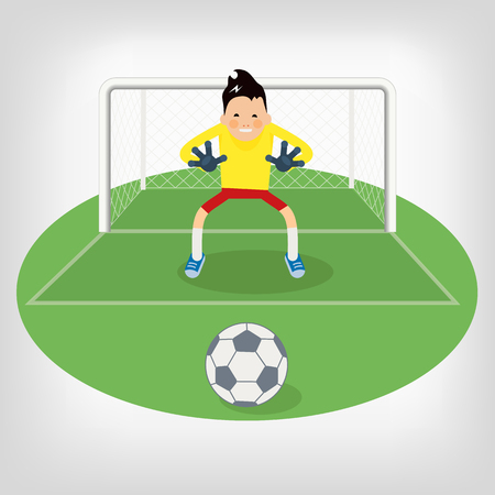 penalty: Cute goalkeeper- vector illustration of a goalkeeper prepares to take a penalty