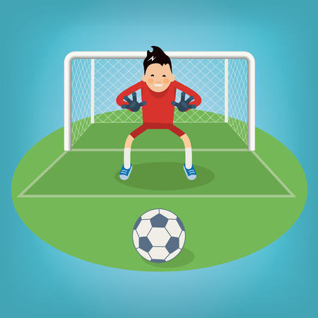 socker: Cute goalkeeper- vector illustration of a goalkeeper prepares to take a penalty
