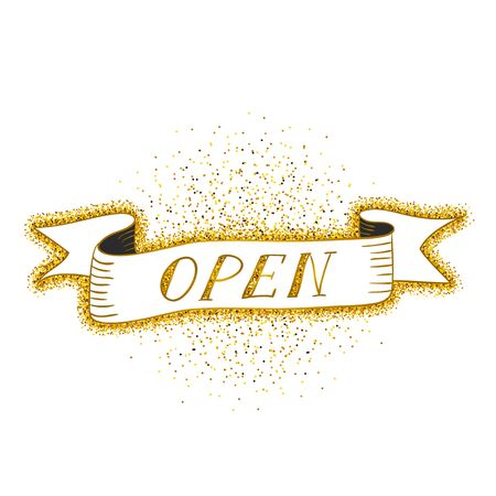 doorhandle: Gold sparkling ribbon with the inscription Open. Golden vector illustration. Open sign for shop and cafe. Hand drawn element of ribbon. Ribbon isolated on a white background.
