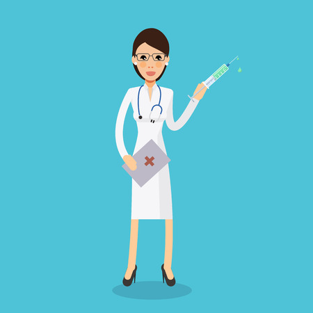 inoculate: Sexy nurse makes a shot vaccination- vector flat style. Medicine and health. Doctor treatment profession the patient