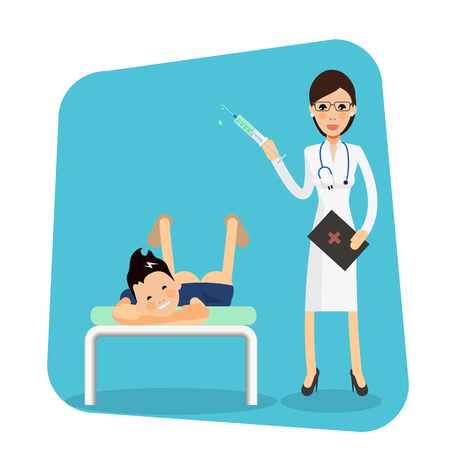 boy doctor: Cute female doctor with syringe with medication makes a shot to the boy lying on the bed. Shot in the ass with boys pants down on light blue background. Vector character  illustration in flat style