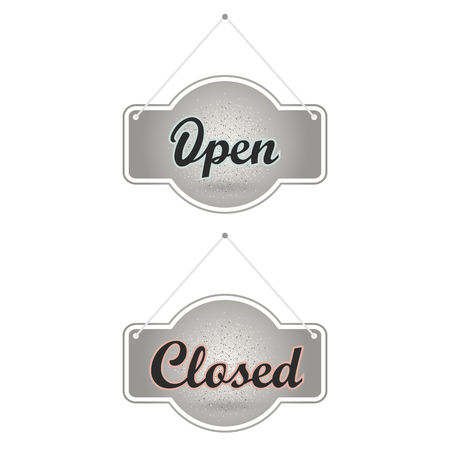 doorhandle: Silver sparkling ribbon with the inscription Open and Closed. Silver vector illustration. Open sign for shop and cafe