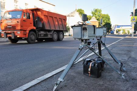 june 25: Fatezh, Russia -June 25, 2016: Fixed radar ready to fix speed of motorists