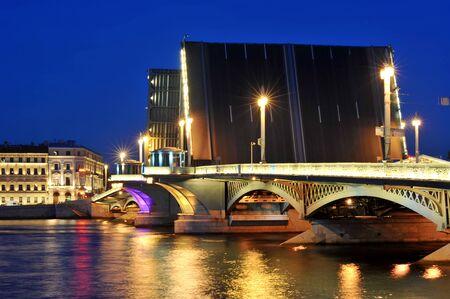 blagoveshchensky: Night view of Blagoveshchensky bridge on the period of white nights in Saint-Petersburg Stock Photo