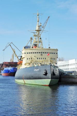 Saint Petersburg, Russia - may 13, 2017: Arctic icebreaker Krasin on the Lieutenant Schmidt embankment in Saint-Petersburg Editorial