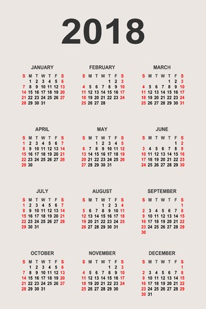 Calendar 2018 year vector design template. The week starts on Sunday and ends on Saturday and font Arial sans serif