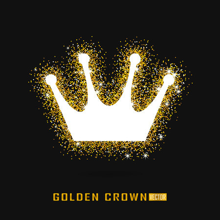 Golden crown in sparkling style, cold glitter texture.