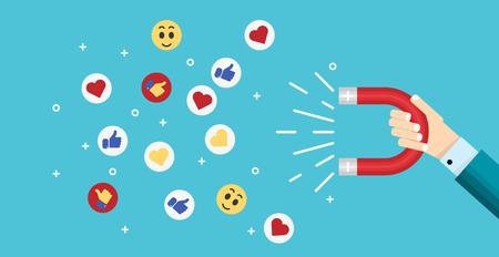 De magneet die van de zakenmanholding likes, harten en reactieglimlachen aantrekt. Social media marketing in het bedrijfsleven