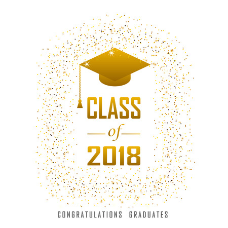 vector illustration of a graduating class in 2018 graphics gold elements for t-shirts, and the idea for the sign or badge