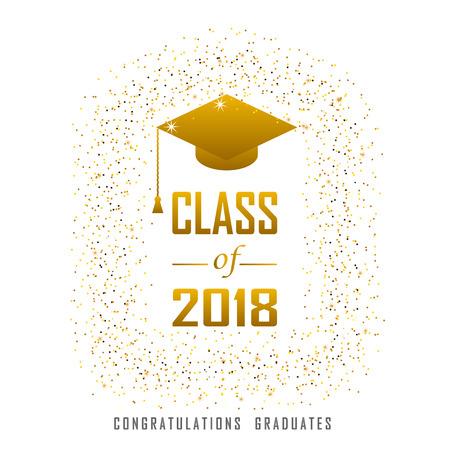 vector illustratie van een afstudeer klas in 2018 grafische gouden elementen voor t-shirts, en het idee voor het bord of de badge