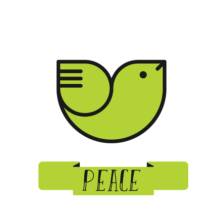 Peace dove logo for International Peace Day poster, banner, postcard Illustration