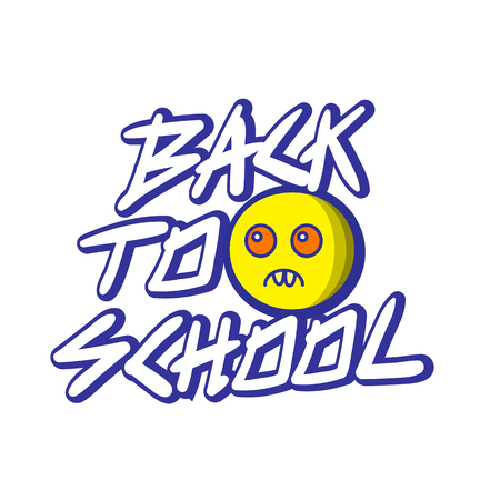 Vector illustration of Welcome back to school concept - reluctance to go to school, logo concept school and monsters - graphic elements for t-shirts, and the idea for the sign or badge. no desire to go to school