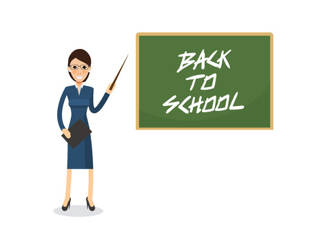 cute teacher standing with pointer in front of blackboard on which is written the greeting back to school Stock Vector - 85071663