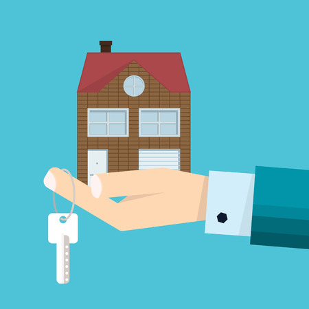 Male hand in suit - agent with home in palm and house key on finger. Offer of purchase house, sale, rental of Real Estate. Flat design