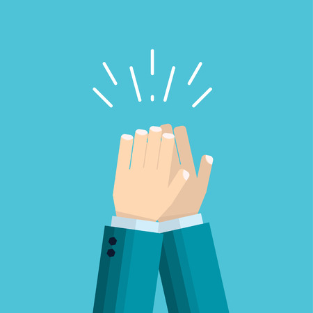 vector illustration of hands clap - applause of male hand in suit. Concept of the celebration and approval in flat style Çizim