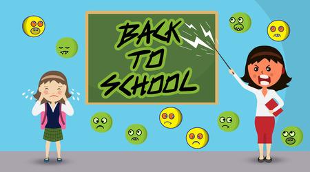 怒りと叫び声で、学校に挨拶を書き戻す黒板の前にポインタと泣いている女の子と立って