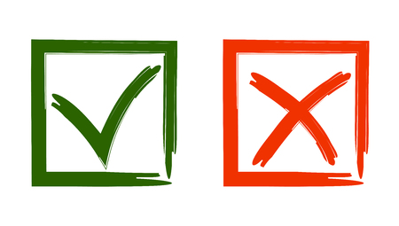 "Vector illustration of signs to vote ""Yes"" and ""no"". in the green box check mark In a red square cross against"