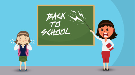 angry teacher with anger and scream standing with pointer and crying girl in front of blackboard on which is written the greeting back to school